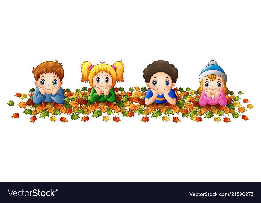 Kids playing with autumn leaves.