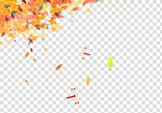 Autumn leaf color Deciduous Yellow, Autumn leaves Dragonfly.