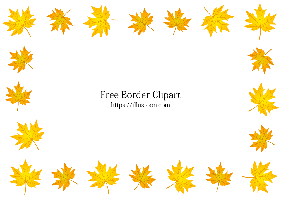 Free Yellow Autumn Leaves Border Image|Illustoon.