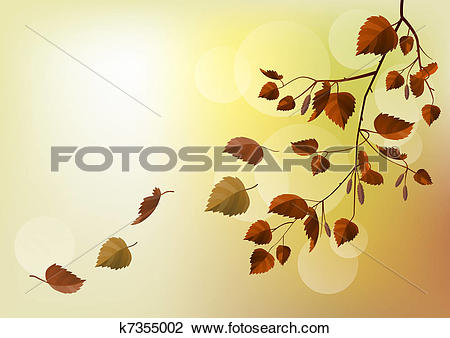 Clipart of Branch with autumn leaves on light beige background.