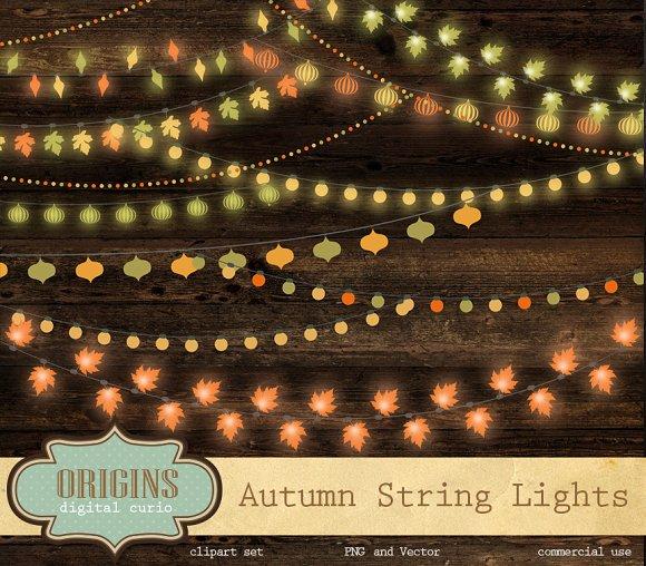 Autumn String Lights Clipart ~ Illustrations on Creative Market.