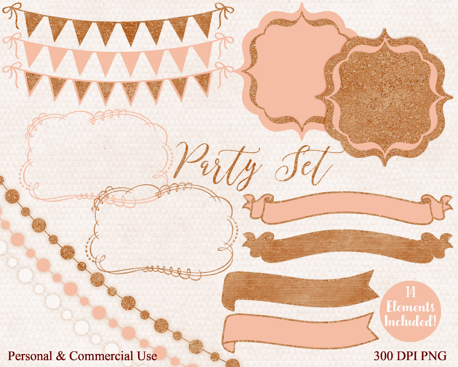 COPPER & PEACH Bunting Clipart Commercial Use Clip Art Autumn.