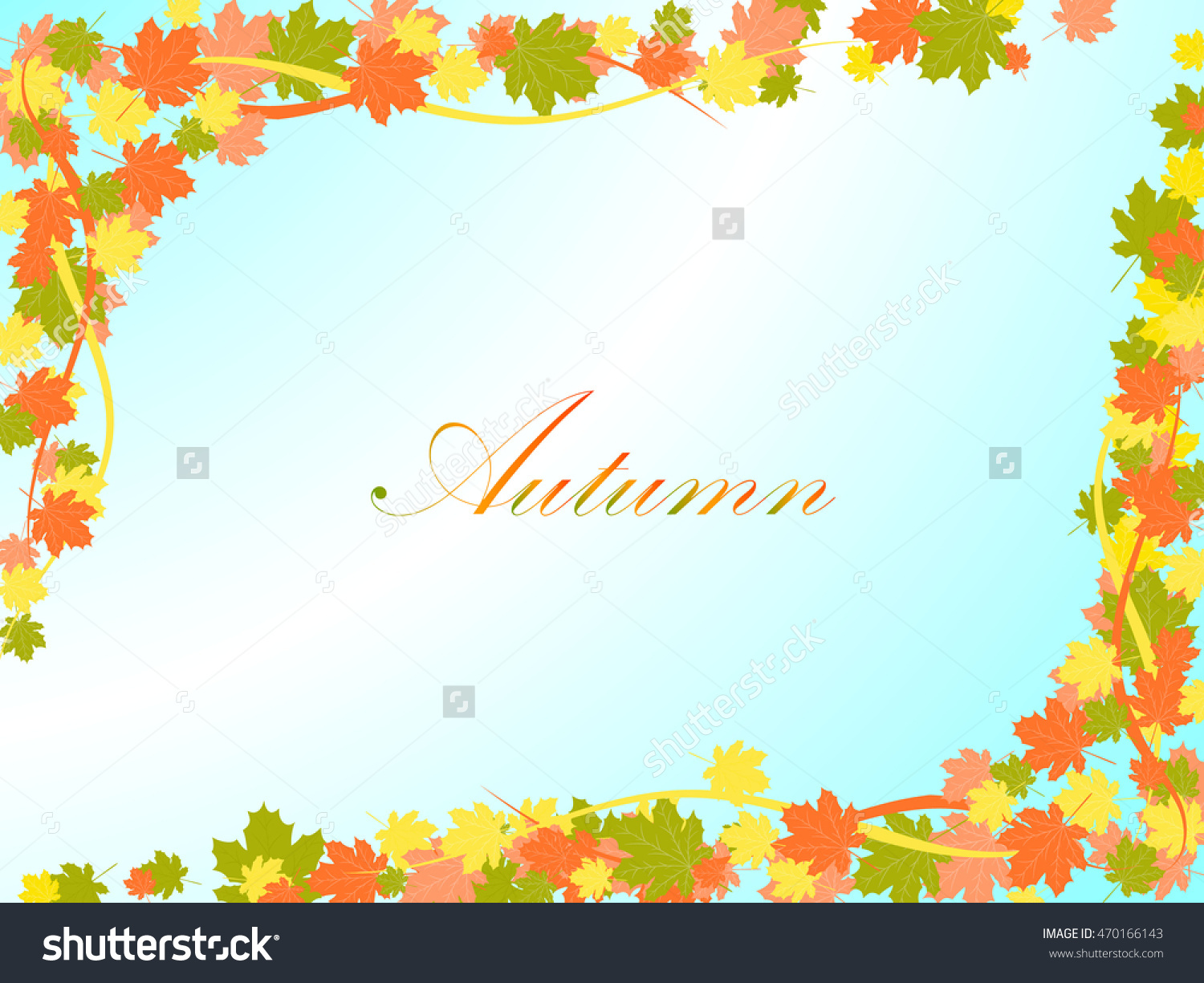 Autumn Light Blue Background With Colorful Maple Leaves And Lines.