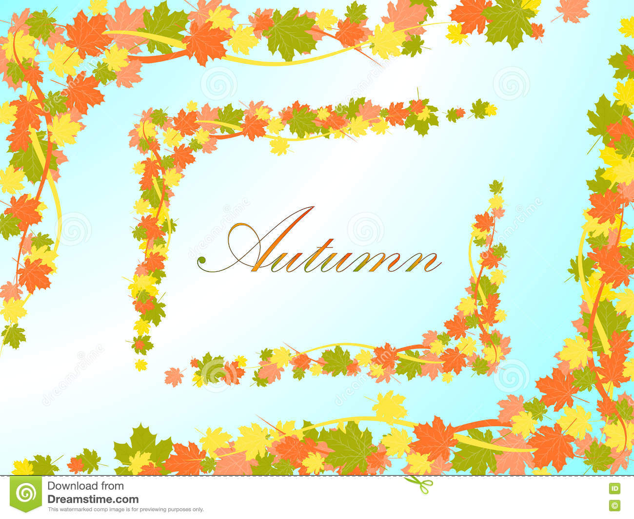 Autumn Light Blue Background With A Frame In The Form Of Colored.
