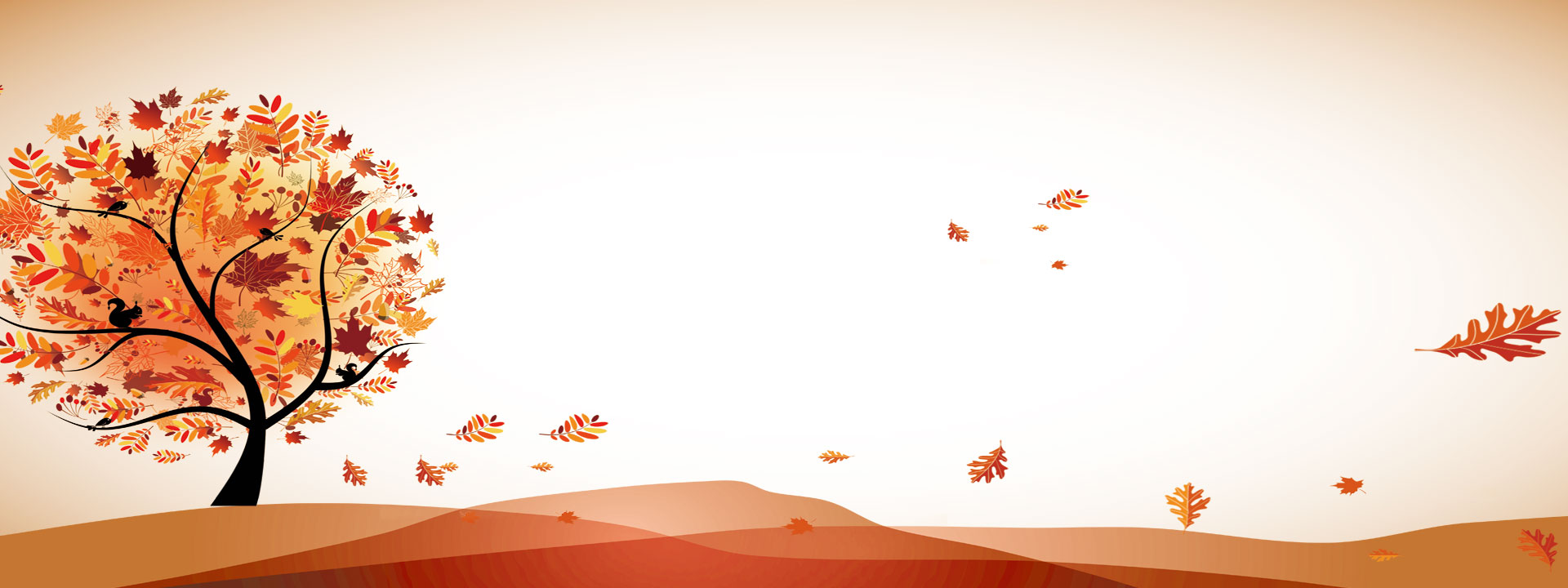 Light Brown Background Beautiful Autumn Creative Trees Leaves.