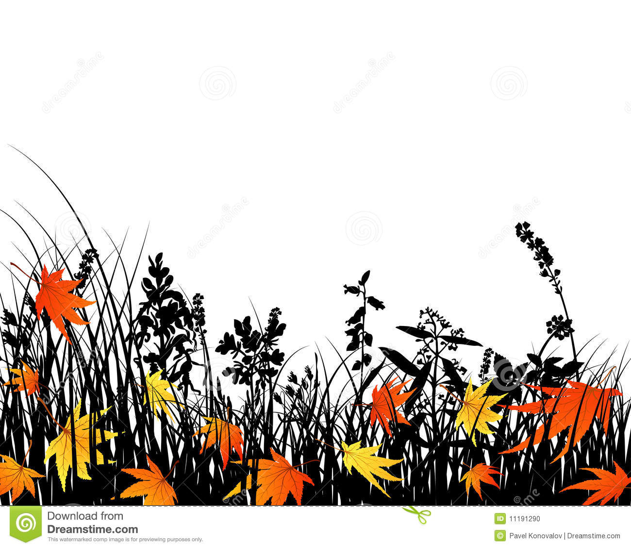 Autumn Meadow Silhouettes Stock Photo.