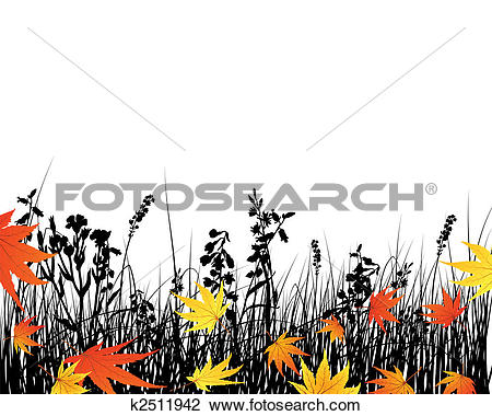 Clipart of autumn meadow silhouettes k2511942.