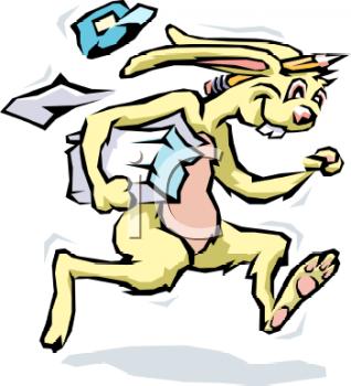 Messenger Rabbit Delivering Flyers.