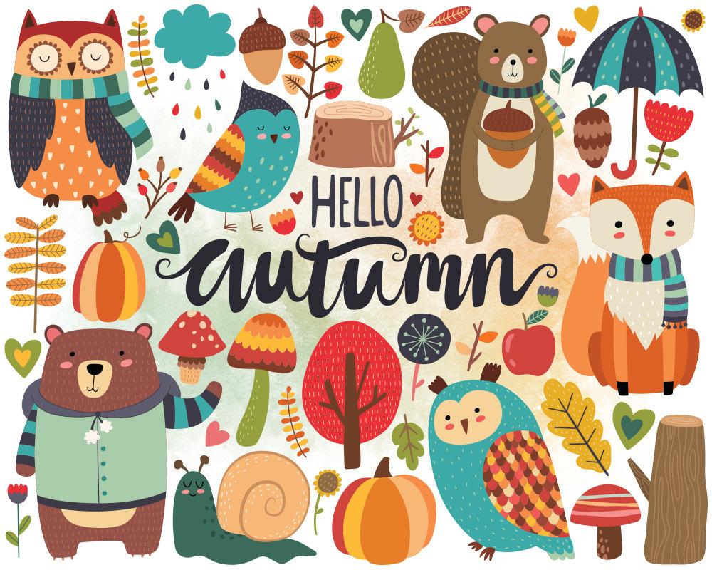 Autumn Woodland Clipart Fall Clipart Autumn by KennaSatoDesigns.