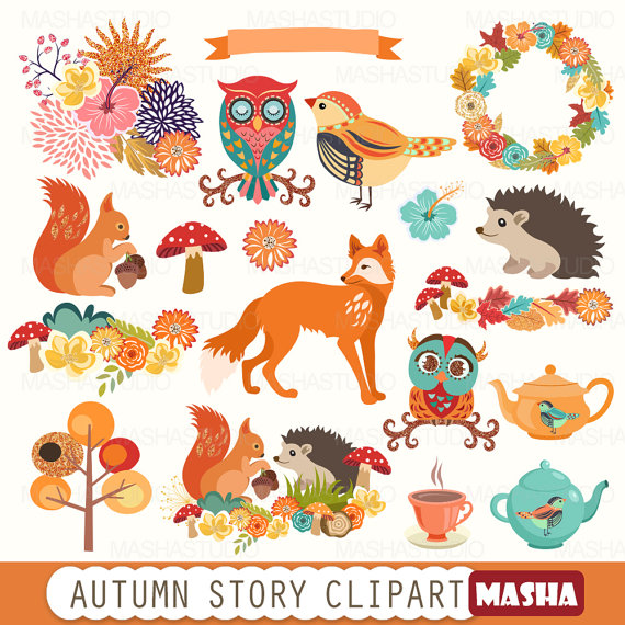 Autumn clipart: AUTUMN STORY CLIPART with fox by MashaStudio.