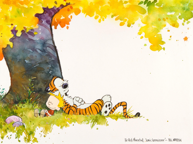 Calvin and hobbes comics autumn mood g wallpaper.