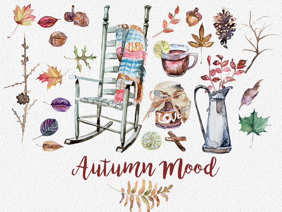 Watercolor Autumn Mood ClipartHandpainted by ArtCreationsDesign.
