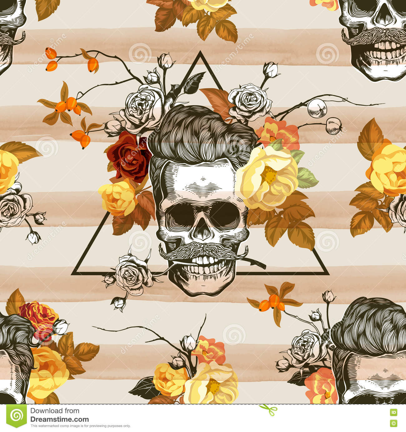 Autumn Mood. Seamless Pattern With The Skulls, Flowers And Leaves.