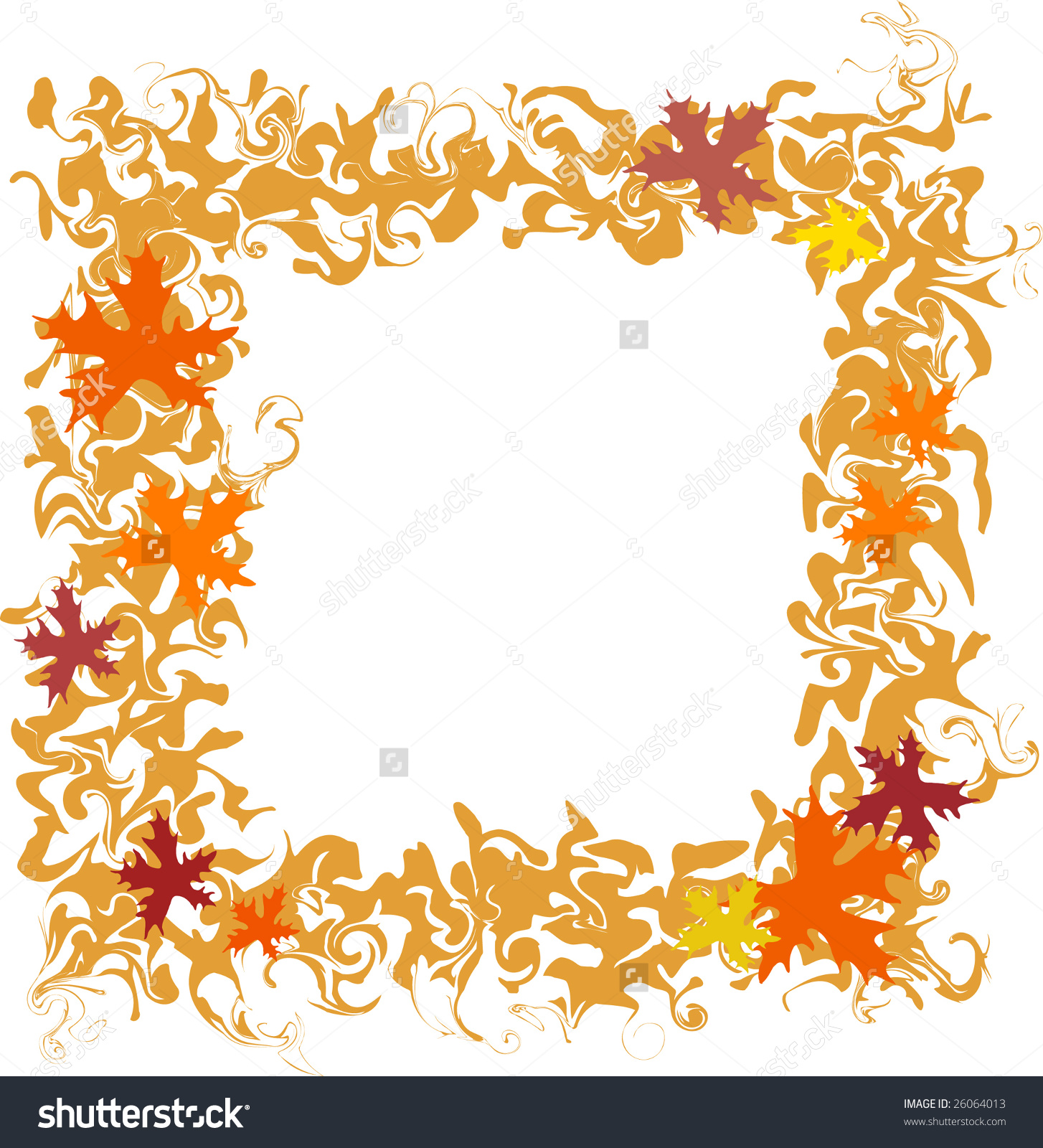 Autumn Motive Frame, A Garland Of Leaves, One Of A Series Stock.