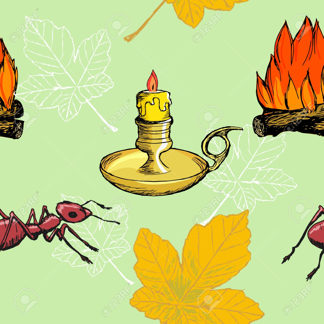 Sample Of Seamless Background With Autumn Motives Royalty Free.