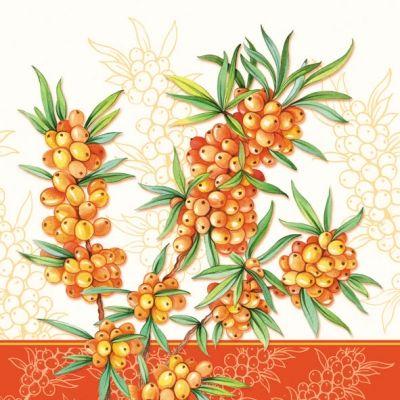 napkins / motives, Fruits, Autumn, lunchnapkins, sea buckthorn.