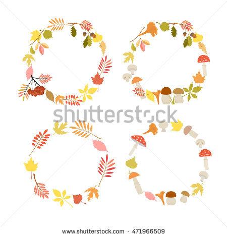 Vector Illustration. Set Of Autumn Frames Round. Golden Autumn.