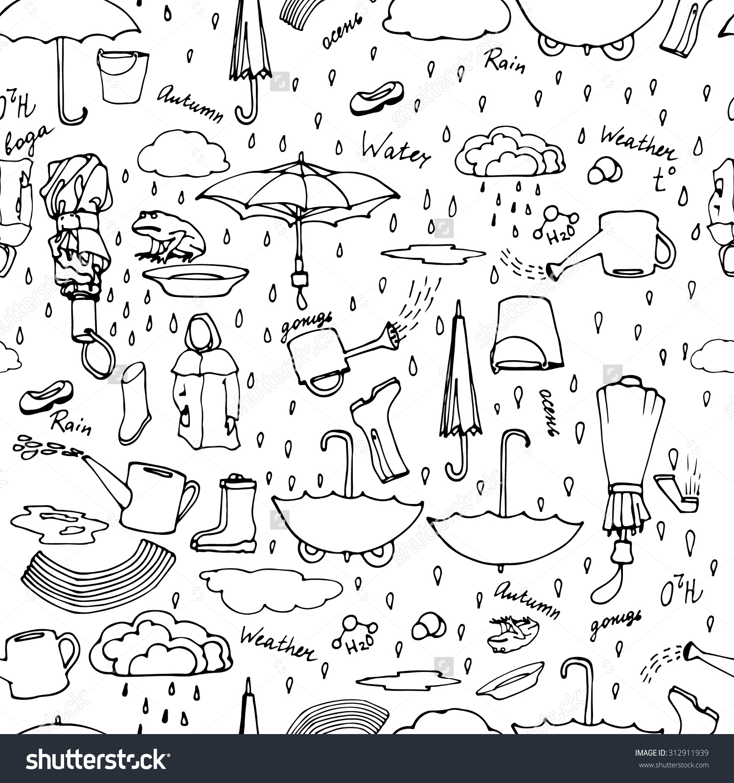 Seamless Pattern With Hand Drawn Pictures Of Rainy Weather, Autumn.