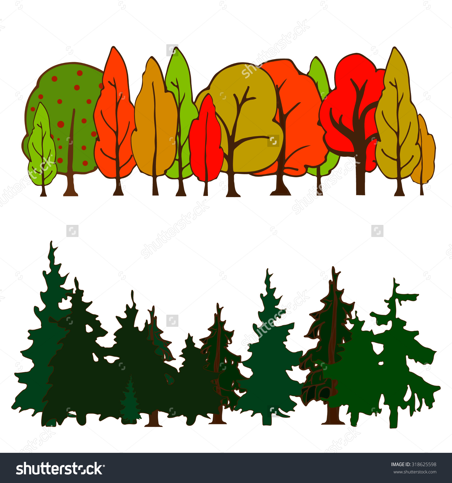 Set Colorful Hand Drawn Trees Isolated Stock Vector 318625598.