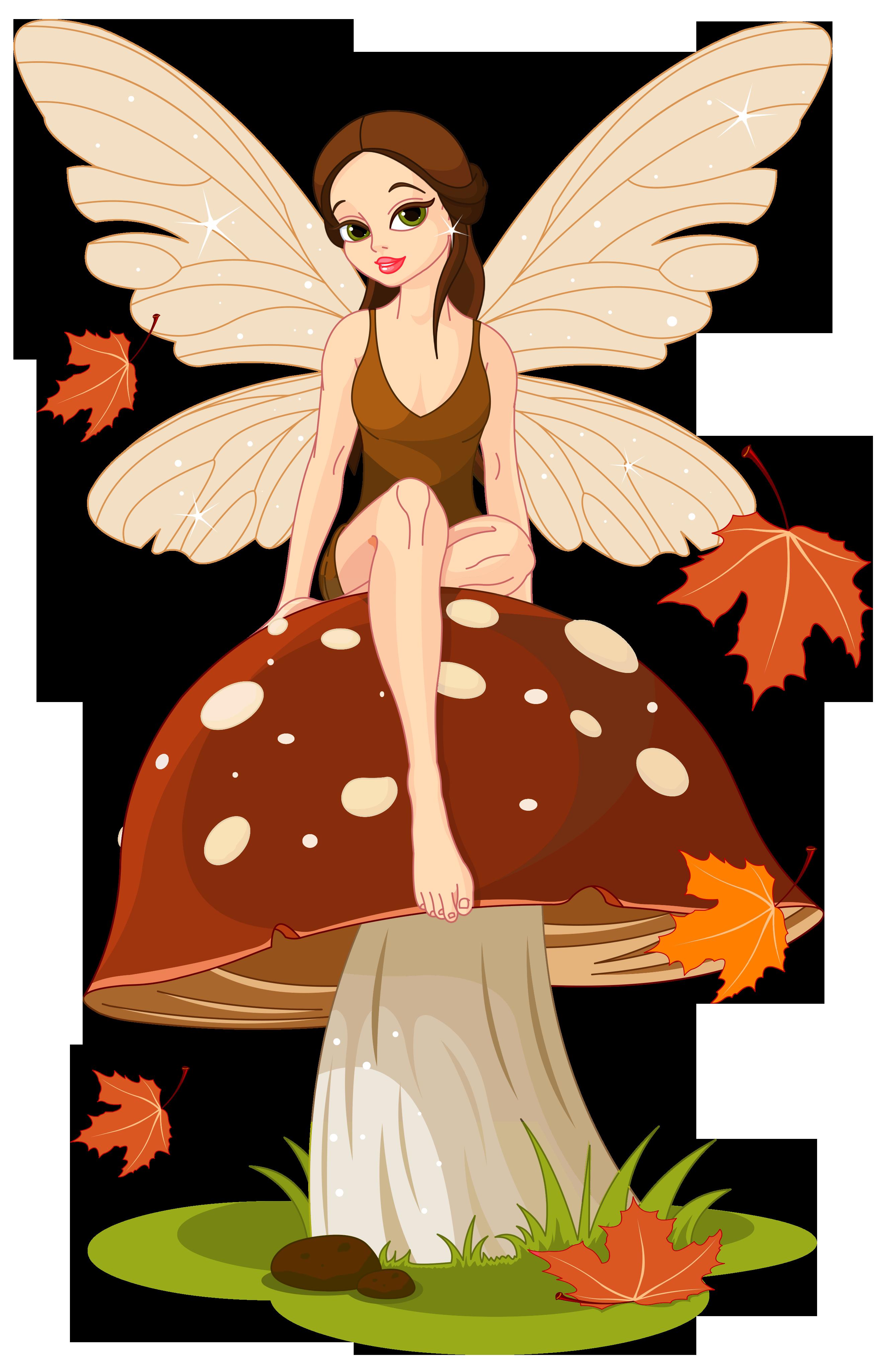 Autumn Fairyand Mushroom PNG Clip.