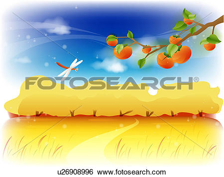 Stock Illustration of seasons, background, outdoors, autumn.