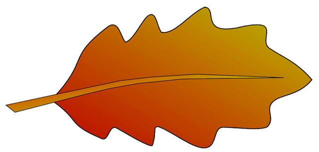 autumn oak leaf 2 sketch clipart, lge 12 cm long.