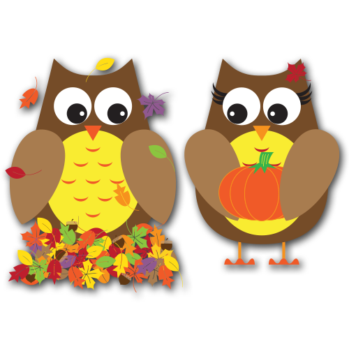 Fall Owls Clip Art SVG.