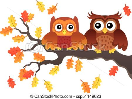 Autumn owls on branch theme image 1.