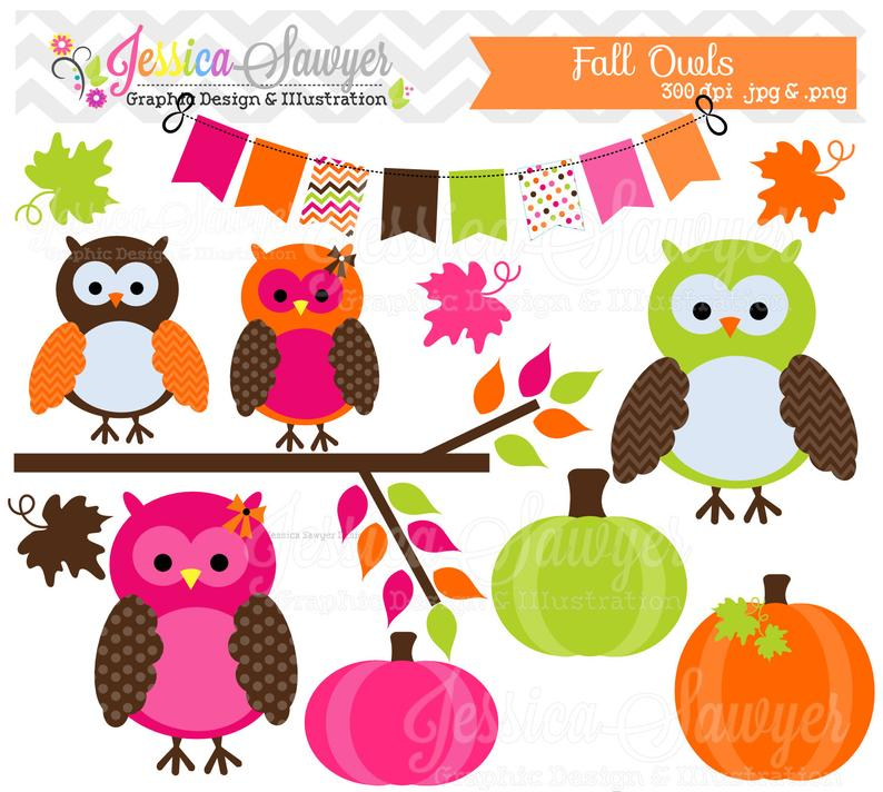 INSTANT DOWNLOAD, fall owl clipart, autumn owls clip art , for commercial  use, personal use, invites, cards, scrapbooking.