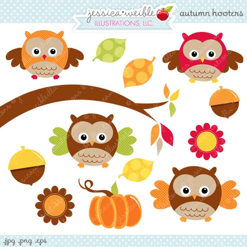 Autumn Hooters Cute Digital Clipart.