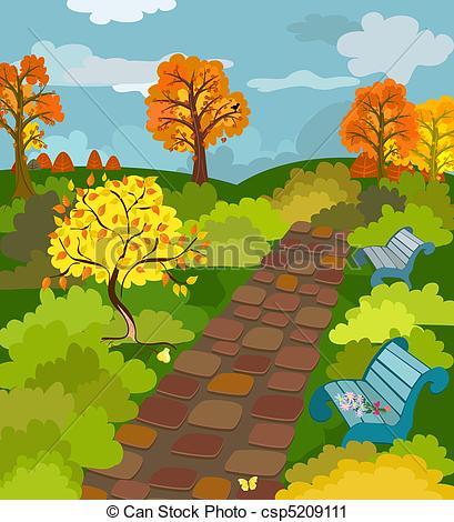 Vector Clip Art of Autumn Park csp5209111.