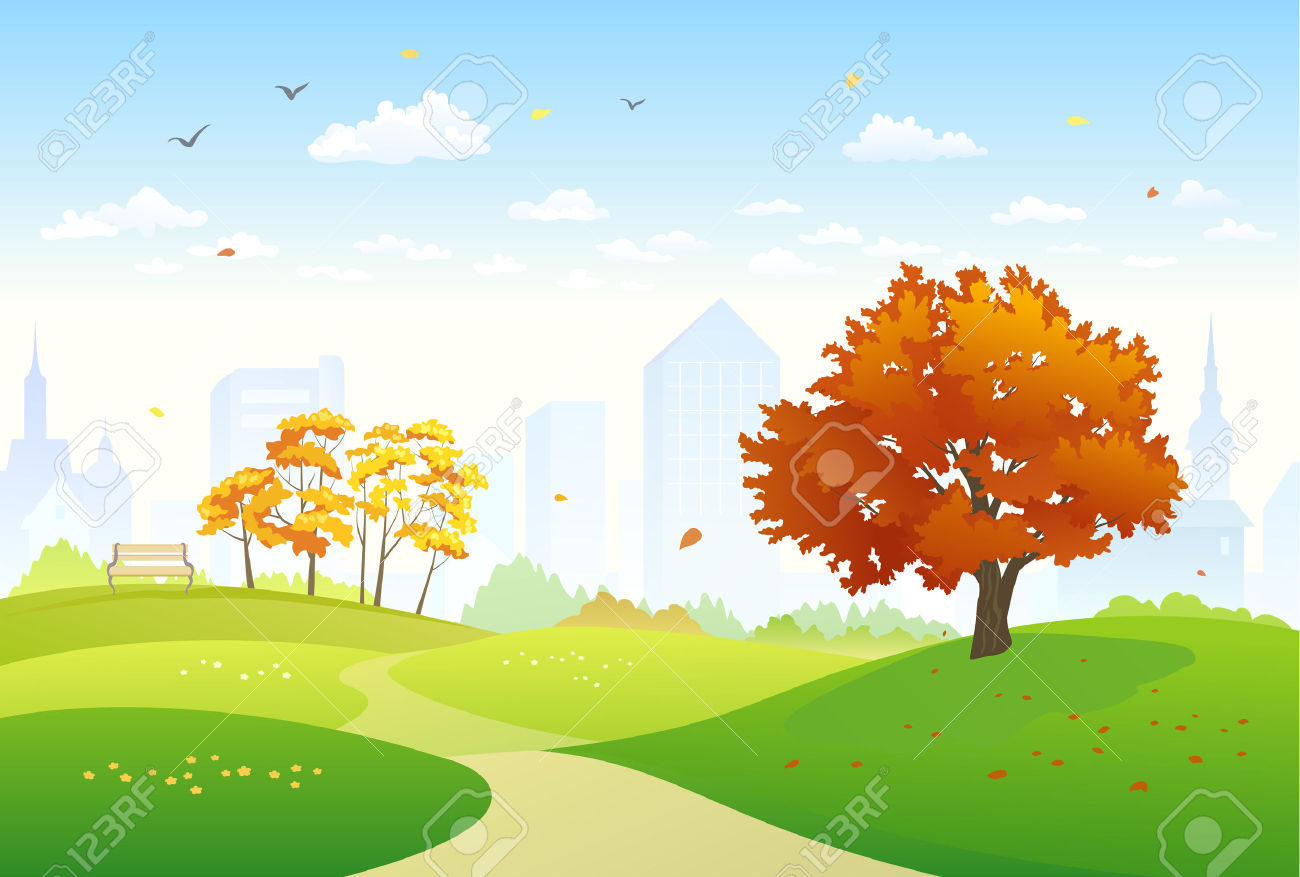 Illustration Of An Autumn City Park Royalty Free Cliparts, Vectors.