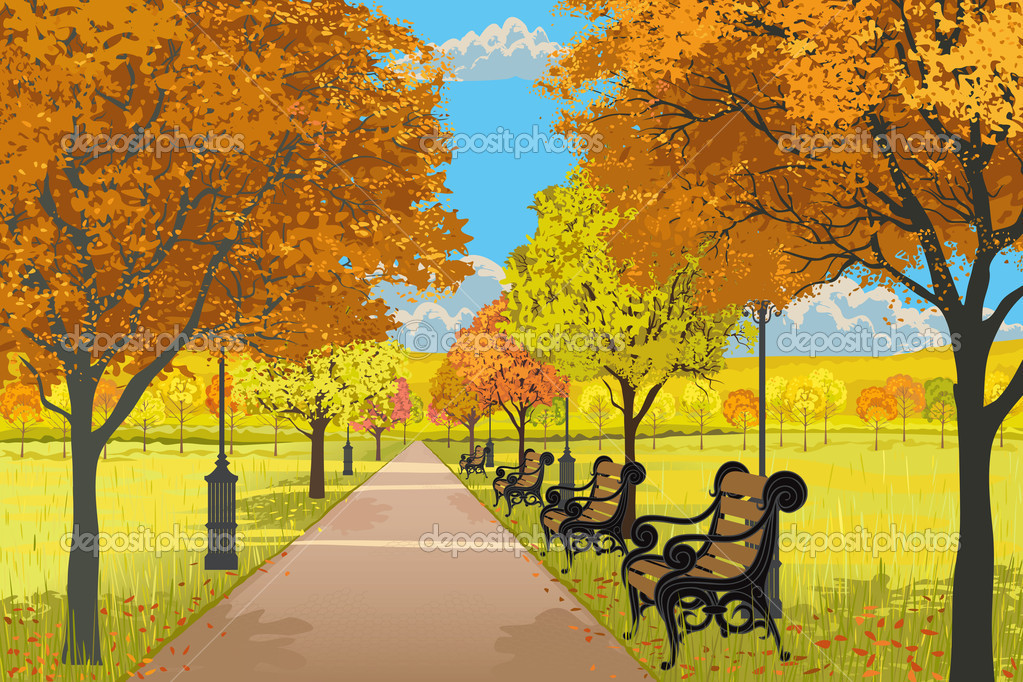 Autumn park — Stock Vector © Mikhaylova #6870528.