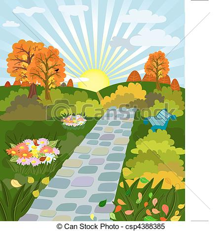 Clipart Vector of sunny day in autumn park csp4388385.