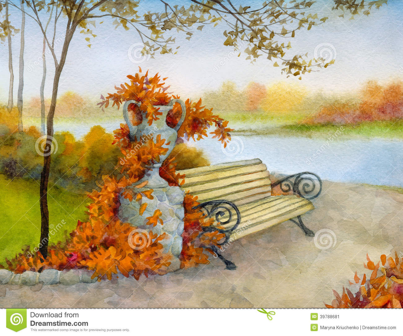 Decorative Bench In Autumn Park Stock Illustration.