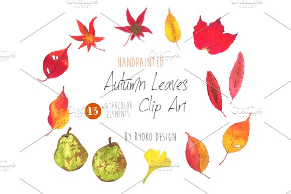 Autumn Leaves Watercolor Clip art ~ Illustrations on Creative Market.