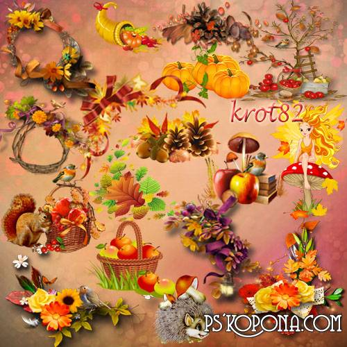 Autumn png download, Clipart on a transparent background.