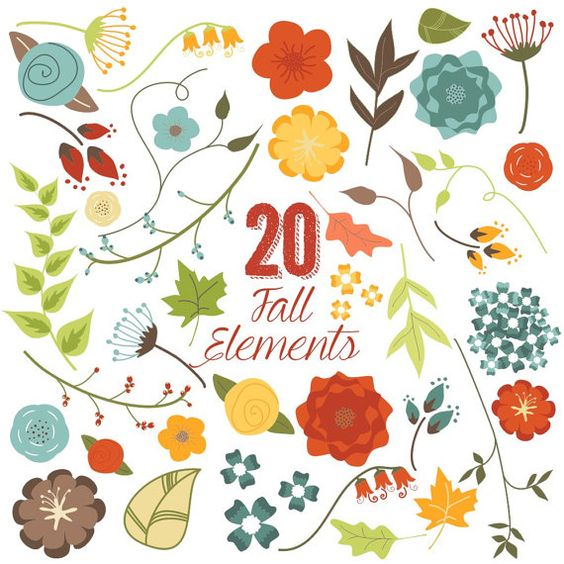 Fall Flowers and Leaves Clip Art, Autumn, Clipart, Vector.