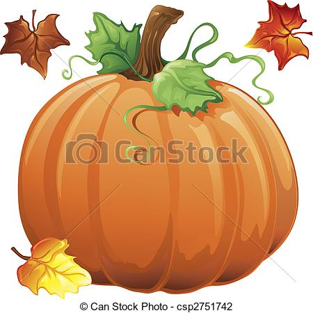 Fall leaves and pumpkin clip art.