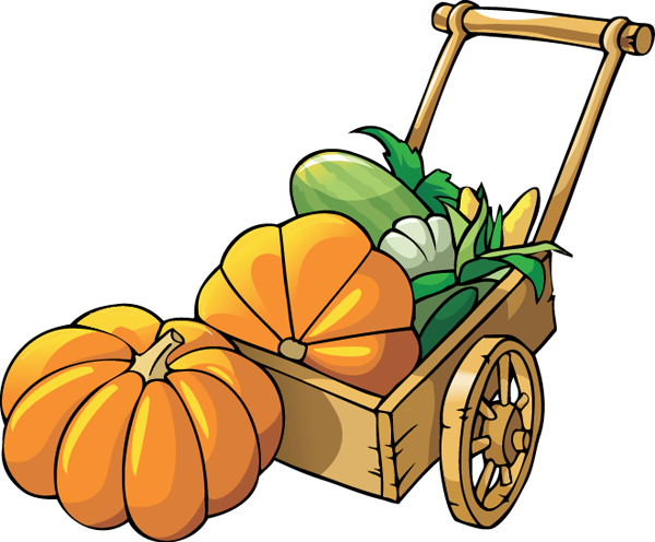 Fall leaves and pumpkins clip art.