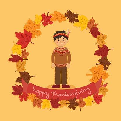 Circle Autumn Leaf Thanksgiving Indian Boy premium clipart.