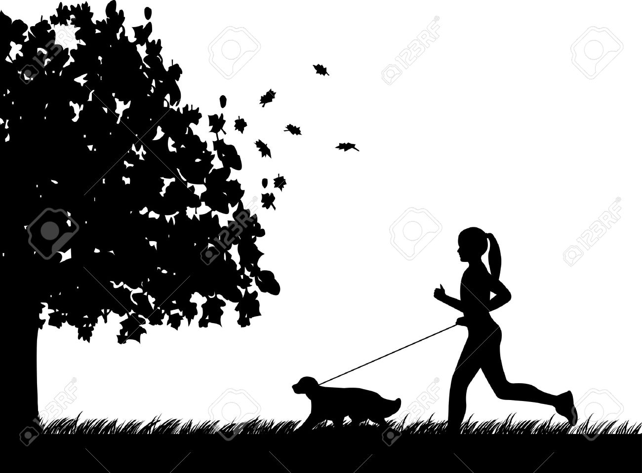 Person run with dog clipart.