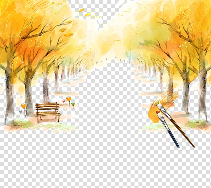 Yellow autumn scene transparent background PNG clipart.