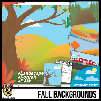 Fall Background Scenes Clip Art/Digital Papers.