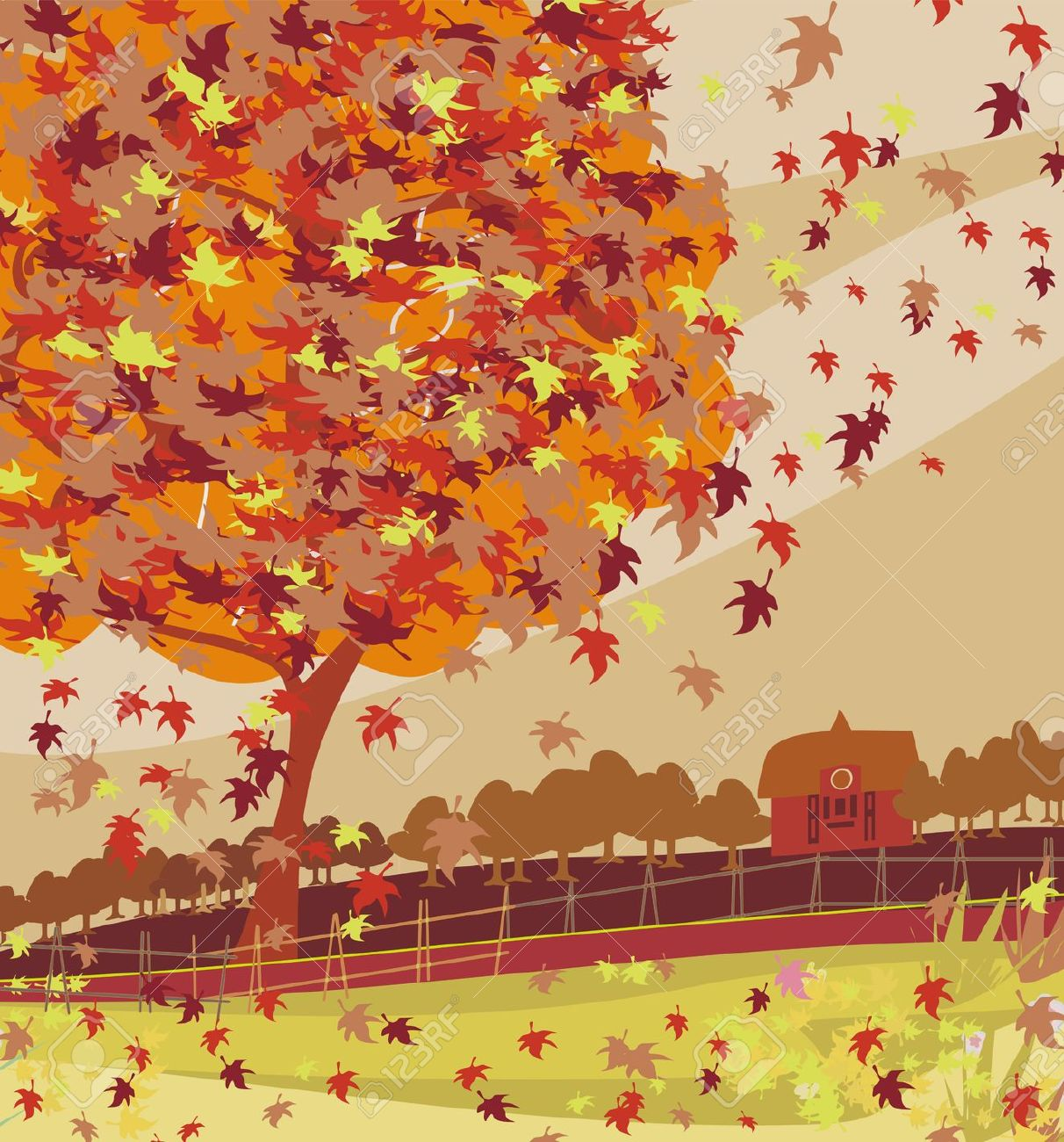 Fall scenery clipart.