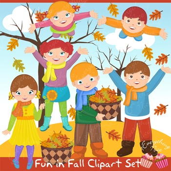 Fun in Fall Autumn Clipart Set.