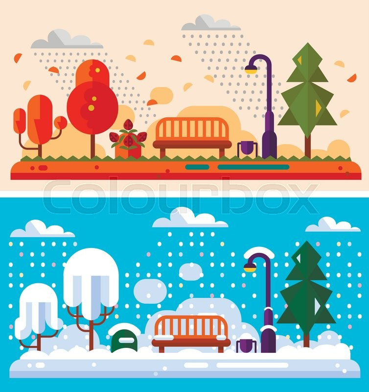 Flat design nature winter and autumn landscapes illustration.