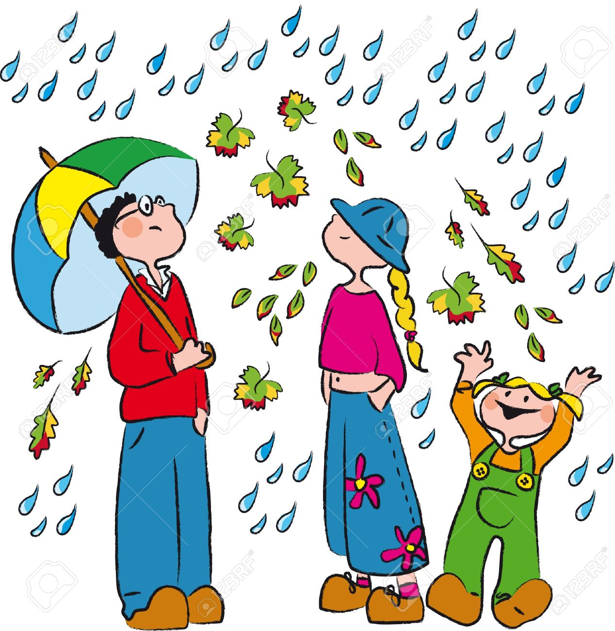 Three Boys In The Rain And Autumn Leaves Royalty Free Cliparts.