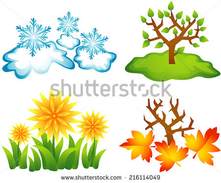 Four Stylized Illustrations Of Seasons, Winter, Spring, Summer.