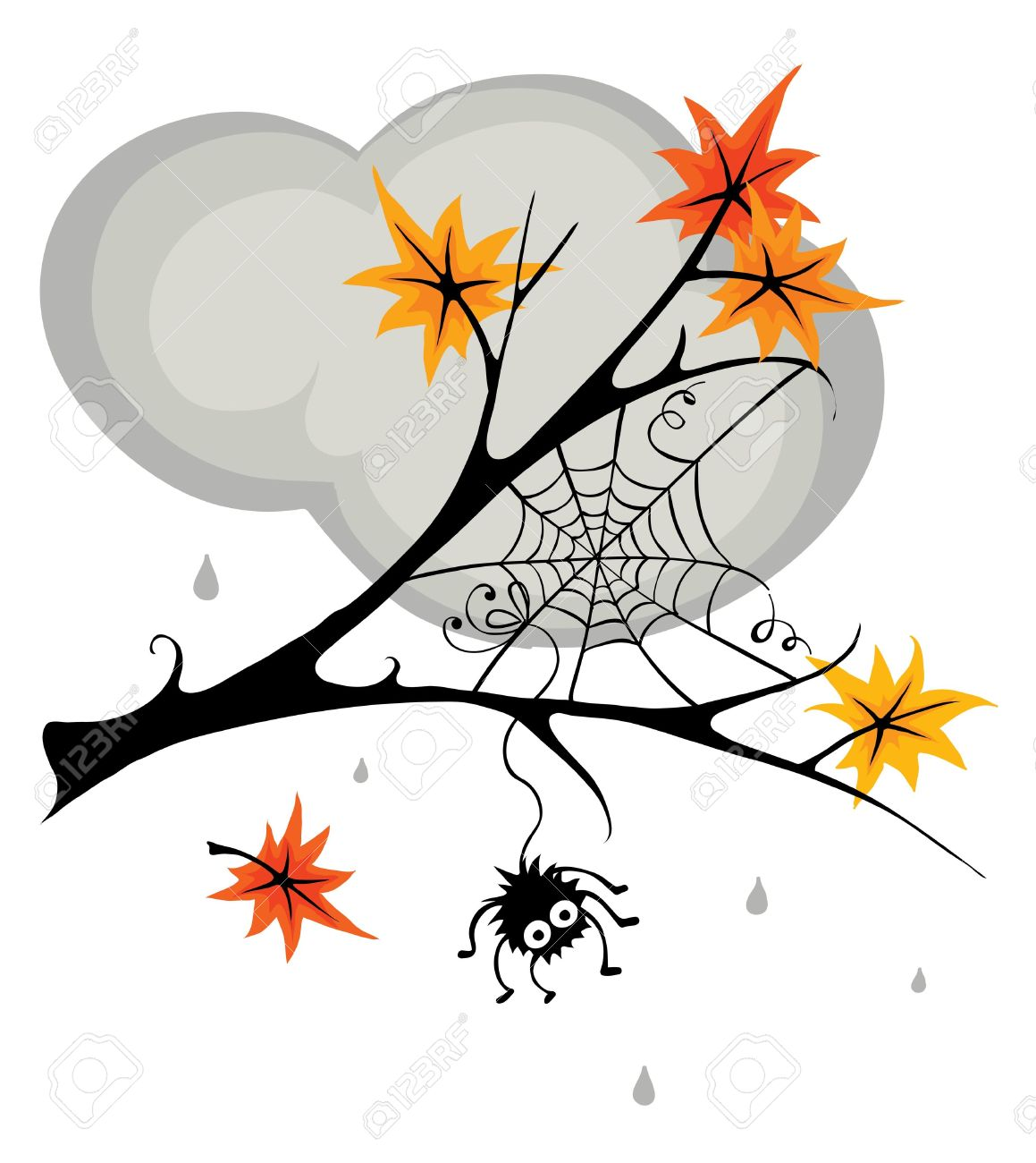 Spider In Cobweb In The Fall Royalty Free Cliparts, Vectors, And.